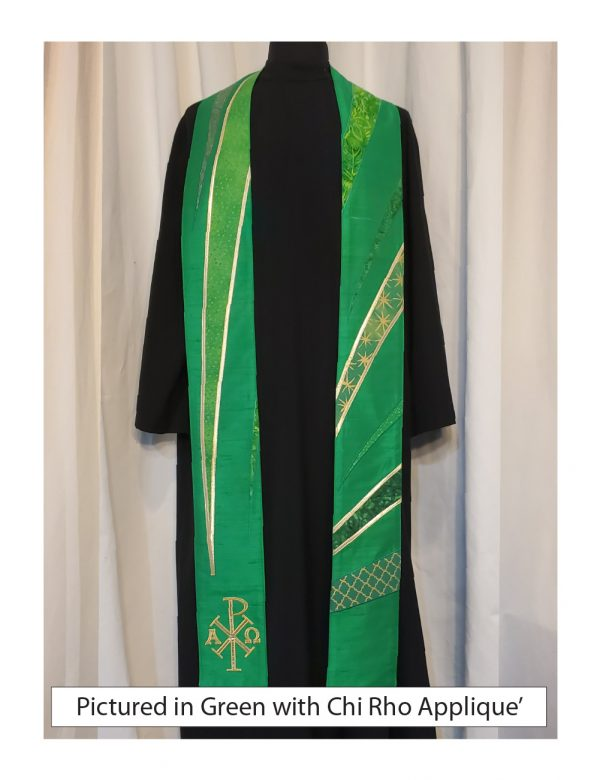 Energetic bursts of cottons emerge from the bottom of the stole highlighting a traditional Chi Rho symbol
