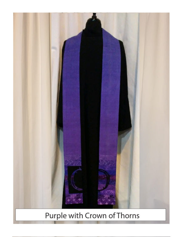 Lustrous purple silk with a selection of cotton prints. A crown of thorns in a figure/ground design is cut out of ultra suede and stitched on top.
