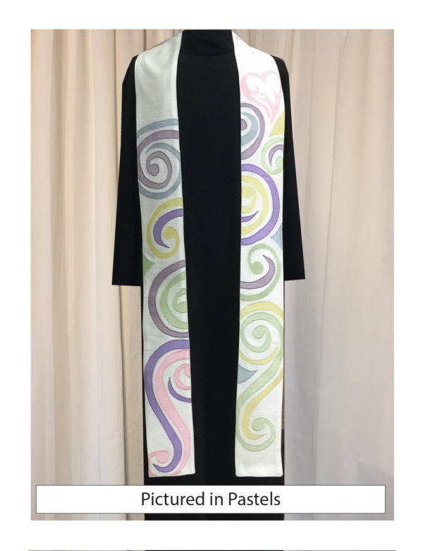 Swirls of cotton prints in pastel colors cover this high-energy and beautiful stole.