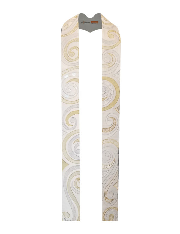 Swirls of cotton prints with gold and silver metallic printing cover this high-energy and beautiful stole.