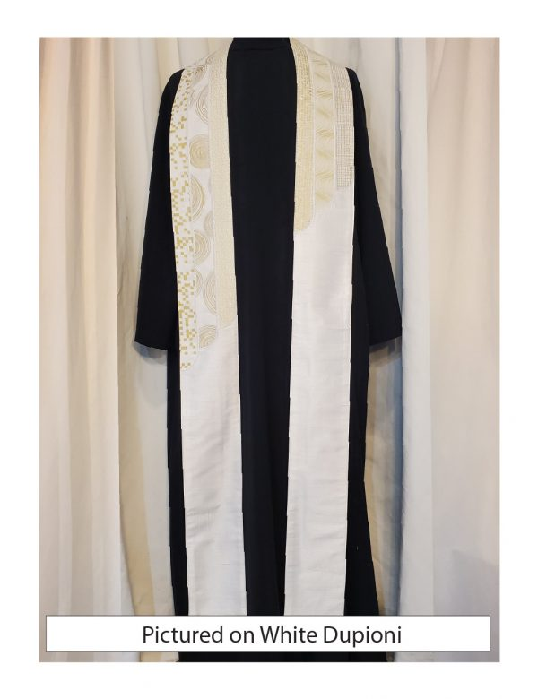 The Cascade Stole has six individual strips of white cottons with curved ends that cascade down the stole.
