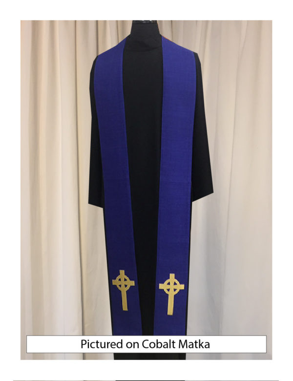 Cobalt blue Celtic Cross stole with an antique gold Celtic Cross on both sides of the stole near the hem on a cobalt blue silk matka base.