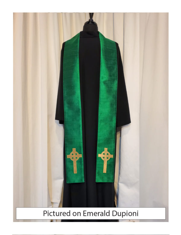 Emerald Green Celtic Cross stole with an antique gold Celtic Cross on both sides of the stole near the hem on a emerald green silk dupioni base.