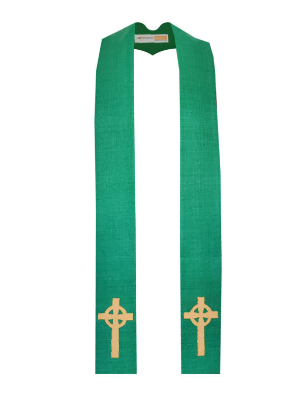 Kelly Green Celtic Cross stole with an antique gold Celtic Cross on both sides of the stole near the hem on a kelly green silk matka base.