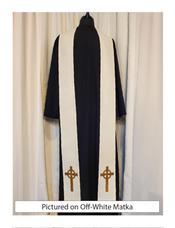 Off-White Celtic Cross stole with an antique gold Celtic Cross on both sides of the stole near the hem on a off-white silk matka base.