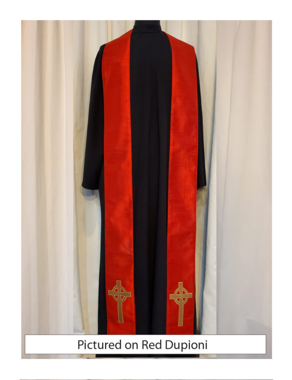 Red Celtic Cross stole with an antique gold Celtic Cross on both sides of the stole near the hem on a red silk dupioni base.