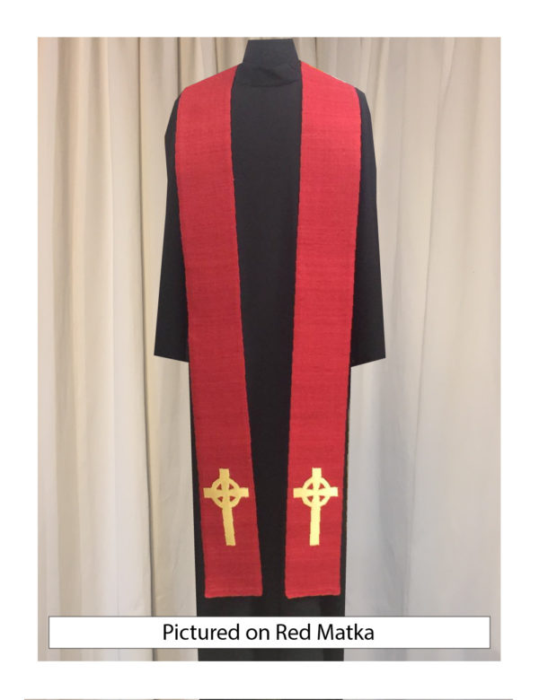 Red Celtic Cross stole with an antique gold Celtic Cross on both sides of the stole near the hem on a red silk matka base.