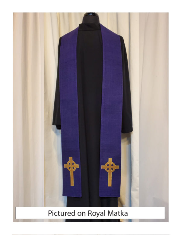 Purple Celtic Cross stole with an antique gold Celtic Cross on both sides of the stole near the hem on a roayl purple silk matka base.