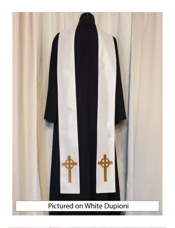 White Celtic Cross stole with an antique gold Celtic Cross on both sides of the stole near the hem on a white silk dupioni base.
