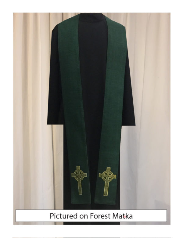 Green Celtic Cross stole with an antique gold Celtic Cross on both sides of the stole near the hem on a forest green silk matka base.