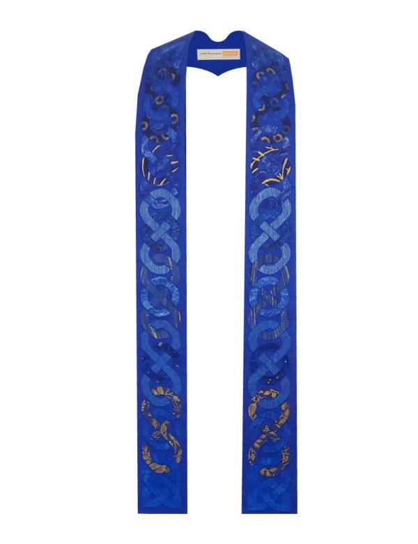 Blue Celtic knots on a blue silk background.