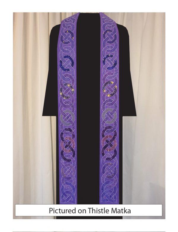 Purple Celtic knots on a purple silk background.