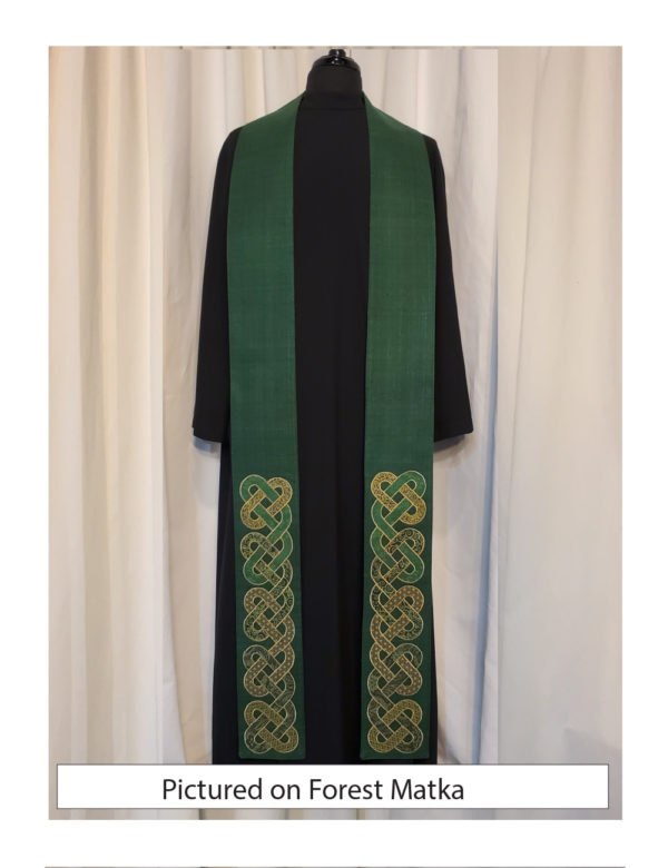 A green silk base with intertwined Celtic knots in oval shapes at the bottom 18-20 inches of the stole.