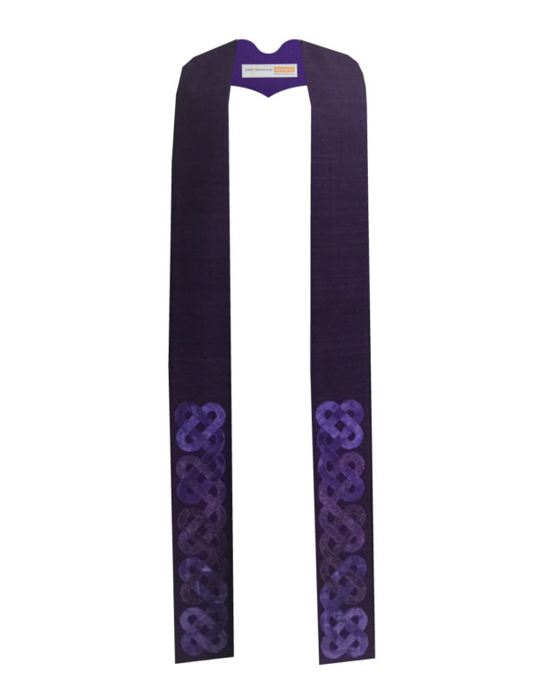A purple silk base with intertwined Celtic knots in oval shapes at the bottom 18-20 inches of the stole.