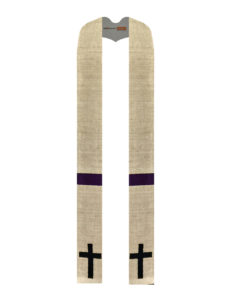 A classic Roman cross in black dupioni is accented with a matching black stripe on a base of flax silk matka
