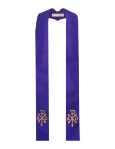 Purple Chi-Rho stole with an antique gold Chi-Rho on both sides of the stole near the hem on a Grape silk dupioni base.