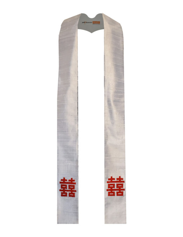 This Chinese celebration stole features the double happiness characters in red on a silvery background.