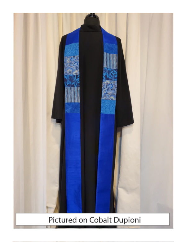 This blue stole has chest-high panels of pieced cottons on a base of solid silk.