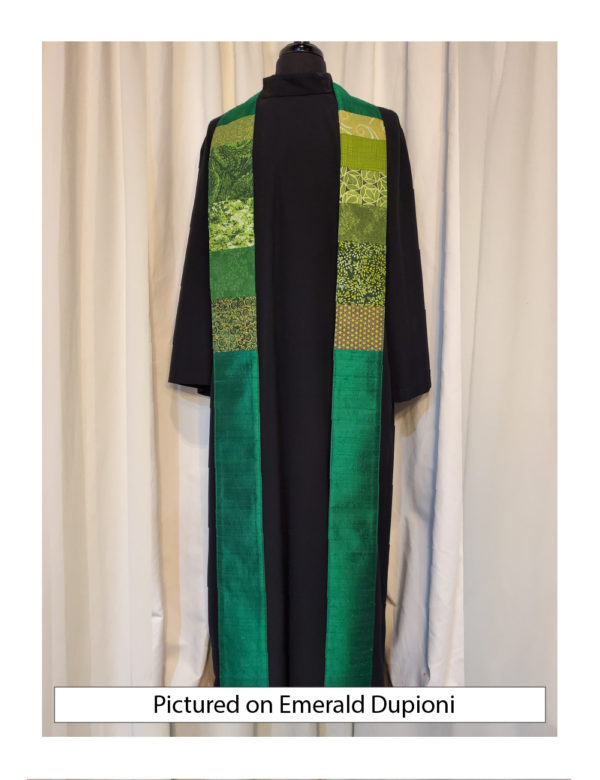 This green stole has chest-high panels of pieced cottons on a base of solid silk.