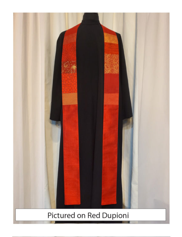 This red stole has chest-high panels of pieced cottons on a base of solid silk.