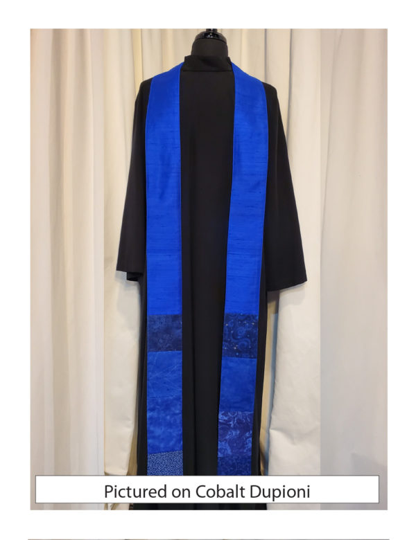 Pieced green cottons at the bottom with a base of cobalt blue silk dupioni.