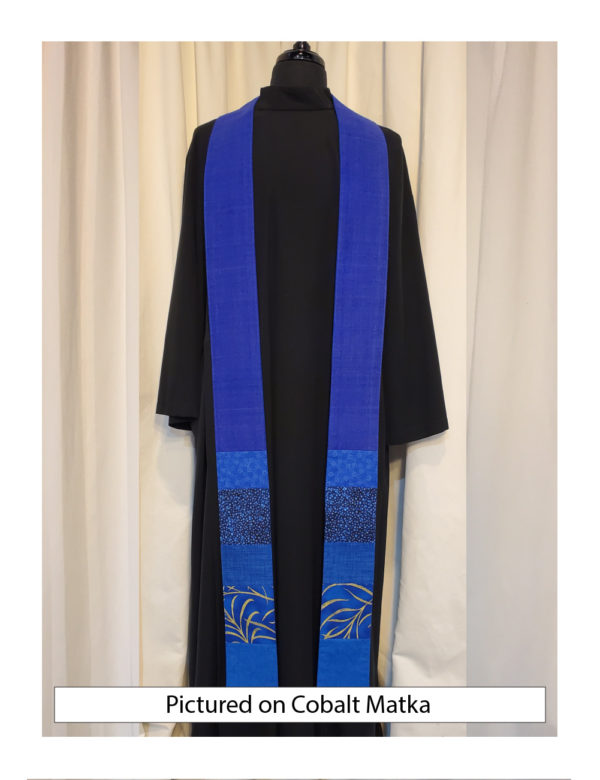 Pieced blue cottons at the bottom with a base of cobalt blue silk matka.