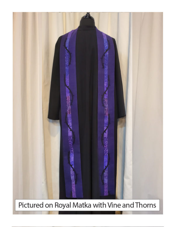 Royal Purple silk matka with elegant strips of pieced cotton prints and batiks centered on both sides of this stole accented with a vine of thorns wrapping around the center cotton stripe.