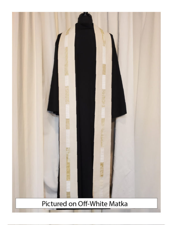 Off White silk matka with elegant strips of pieced cotton prints and batiks centered on both sides of this stole.