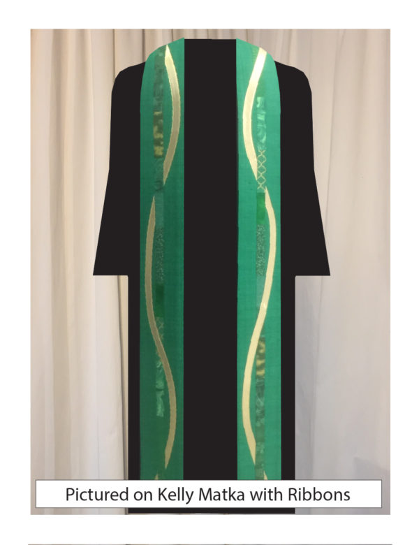 Kelly green silk matka with elegant strips of pieced cotton prints and batiks centered on both sides of this stole with a gold ribbon winding around the center strip of cottons on both sides.