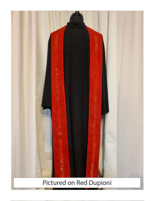 Red silk dupioni with elegant strips of pieced cotton prints and batiks centered on both sides of this stole.