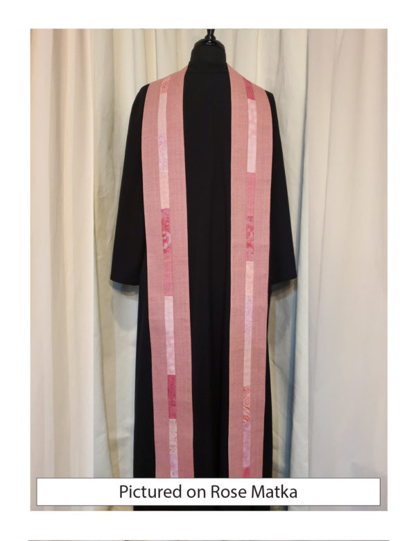 Rose silk matka with elegant strips of pieced cotton prints and batiks centered on both sides of this stole.