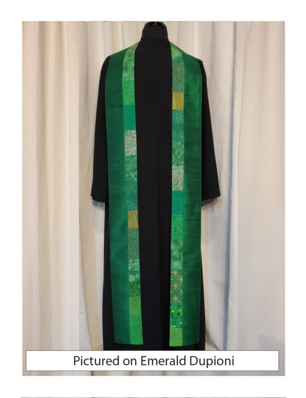 Strips of pieced green cottons down the inside edge of this Galilee stole. The fabrics are different from side to side for a more dynamic look.