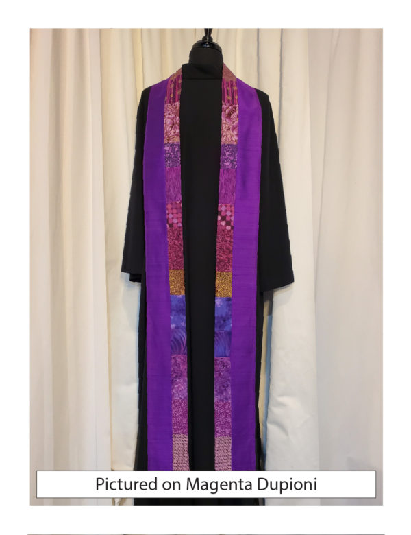 Strips of pieced purple cottons down the inside edge of this Galilee stole. The fabrics are different from side to side for a more dynamic look.