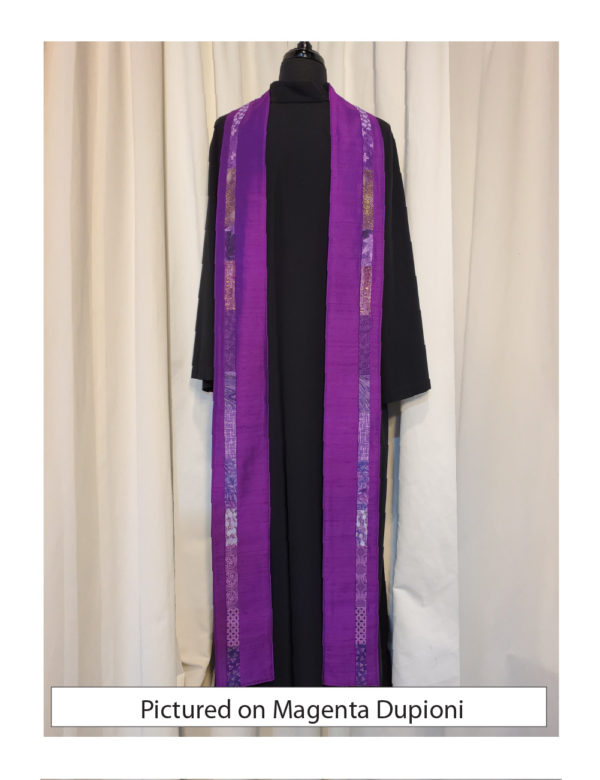 Slender strips of pieced purple cottons run down each side of the Iona stole, placed slightly outside the center line, on a base of purple dupioni.