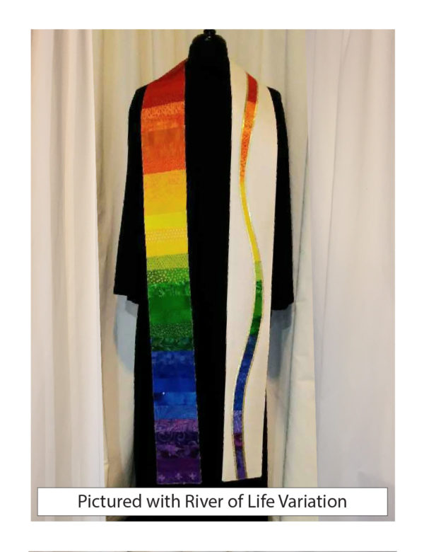 The full spectrum stole is made of horizontal pieces of more than forty cotton prints and batiks that creating a full rainbow from shoulder to hem on one side and a spectrum River of Life Variation on the other.