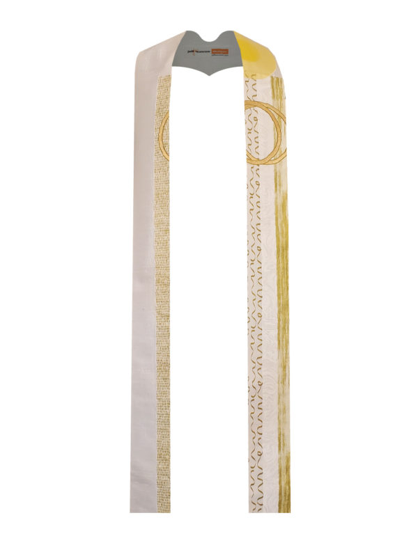 The classic wedding unity candle is created in stripes of white and gold cottons with a flame of silk organza and interlocking rings of gold lame'.