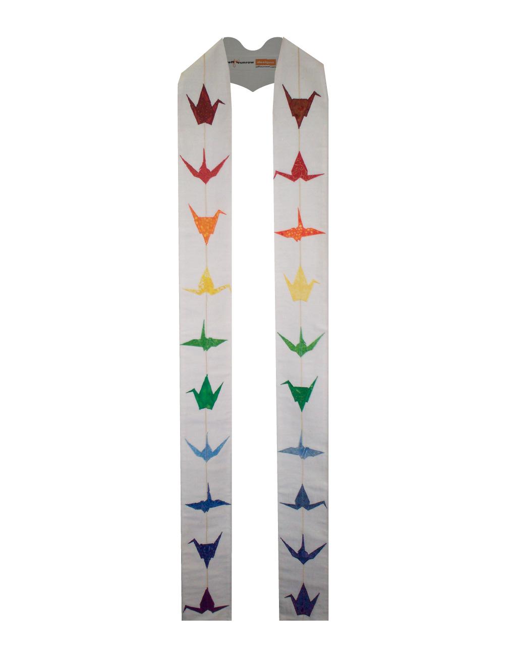 Contemporary White Multi-Season Origami Crane Clergy Stole