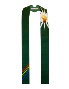 Multi-ethnic power fist against a white starburst on a forest green background with rainbow ribbons at the bottom.