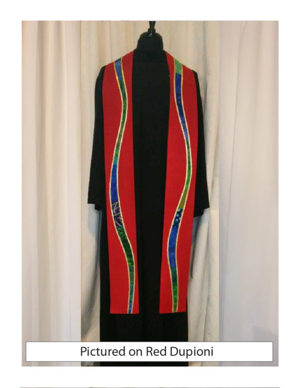 """Red silk dupioni is embellished with gently meandering """"rivers"""" of a selection of cottons in a range of prints, solids, and batiks in blue and green tones outlined with gold lame'."""