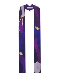 Abstract lotus stole with organic petal shapes in shades of purple with gold metallic accents.