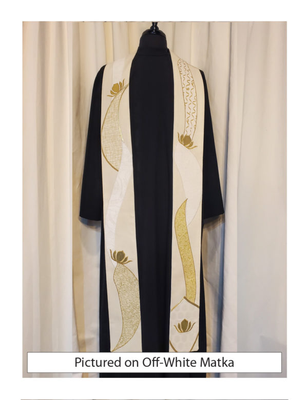 Abstract lotus stole with organic petal shapes in shades of white and gold with gold metallic accents.