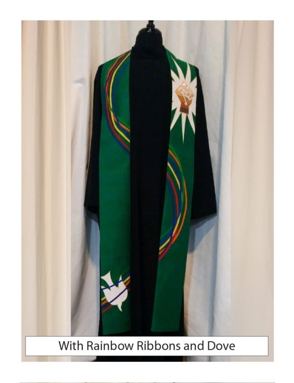Six ribbons of silk dupioni and gold lame' swirl down this green stole accented with a white silk dove and protest fist.