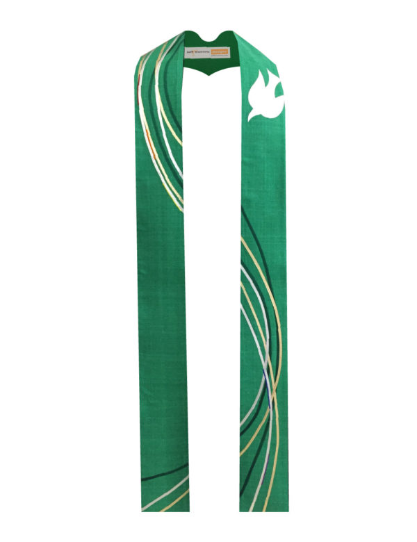 Six ribbons of silk dupioni and gold lame' swirl down this green stole accented with a white silk dove.