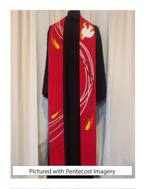 Six ribbons of silk dupioni and gold lame' swirl down this red stole accented with a white silk dove and flames.