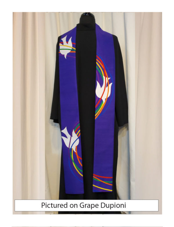 Six ribbons of silk dupioni and gold lame' swirl down this purple stole accented with a white silk dove.