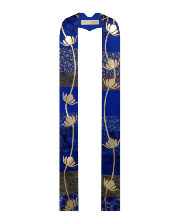 Gold lame' vines and lotuses cascade down pieced blue cottons.