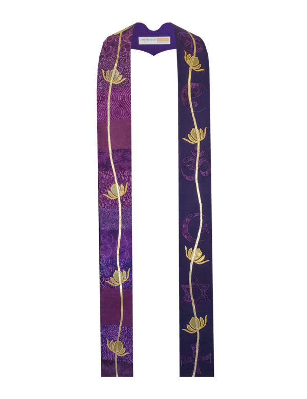 Gold lame' vines and lotuses cascade down pieced purple cottons appliqued with your choice of interfaith religious symbols in complementary colors.