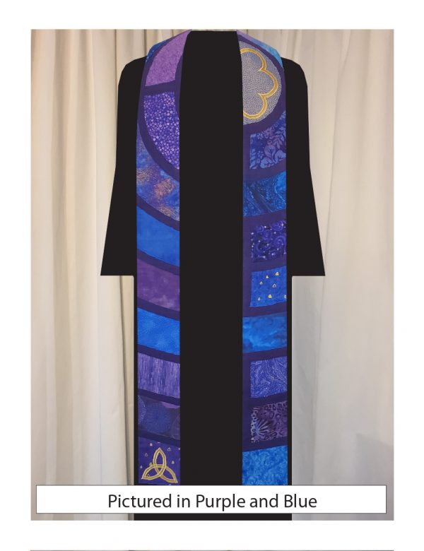 This stole is a slice through the center of a classic Chartres labyrinth showing segments of the path in a variety of purple and blue cottons with gold accents.