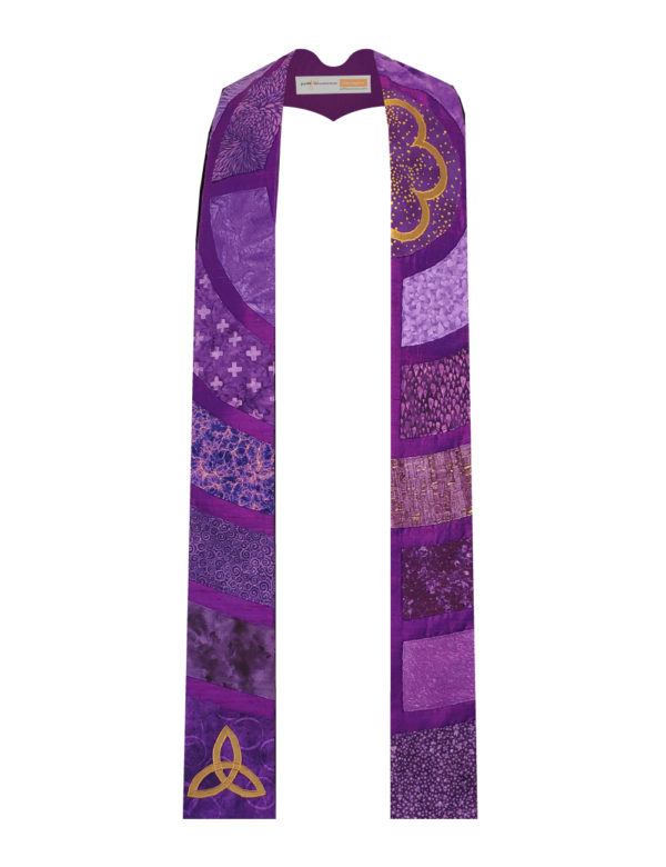 This stole is a slice through the center of a classic Chartres labyrinth showing segments of the path in a variety of purple cottons with gold accents.