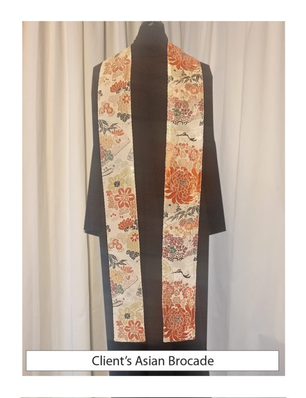 The client's vintage Chinese brocade was used to create a pair of clergy stoles.